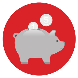 piggy bank, red background